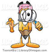 Clip Art of a Cute Pencil Mascot Cartoon Character Looking Through a Magnifying Glass by Toons4Biz