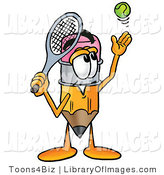 Clip Art of a Cute Pencil Mascot Cartoon Character Preparing to Hit a Tennis Ball by Toons4Biz