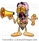 Clip Art of a Cute Pencil Mascot Cartoon Character Screaming into a Megaphone by Toons4Biz