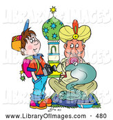 Clip Art of a Cute School Boy with a Camera Watching a Snake Charmer by Alex Bannykh