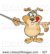 Clip Art of a Cute Smart Brown Dog Holding a Pointer Stick While Reviewing Rules or Teaching a Lesson by Dennis Holmes Designs