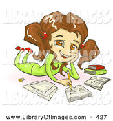 Clip Art of a Cute Smiling Brunette, Brown Eyed School Girl in Green Clothes, Laying on Her Belly and Doing Homework for School by Tonis Pan