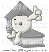 Clip Art of a Cute White Emoticon Character Graduate in a Cap, Sitting on a Book by Leo Blanchette