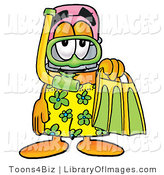 Clip Art of a Cute Yellow Pencil Mascot Cartoon Character in Green and Yellow Snorkel Gear by Toons4Biz