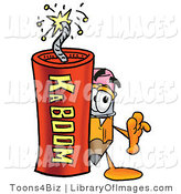 Clip Art of a Cute Yellow Pencil Mascot Cartoon Character Standing with a Lit Stick of Dynamite by Toons4Biz