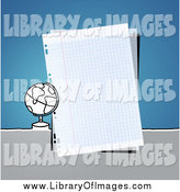 Clip Art of a Desk Globe by a Piece of Graph Paper over Blue by NL Shop