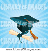 August 18th, 2014: Clip Art of a Diploma by a Graduation Cap and Tassel over Rays by Pushkin