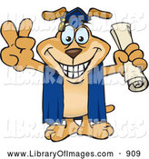 Clip Art of a Dog Graduate Holding His Diploma and Gesturing a Peace Sign by Dennis Holmes Designs