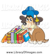 Clip Art of a Dog Professor Holding a Diploma and Sitting by a Stack of Books by Visekart