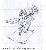 Clip Art of a Elementary School Boy Lying on His Stomach and Doing Homework or Drawing Something by Leo Blanchette