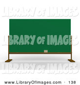 Clip Art of a Eraser Resting on the Bottom of a Blank Green Blackboard in a School Class Room by 3poD