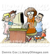 Clip Art of a Female Computer Teacher Sitting at a Computer, Surrounded by School Kids in a Classroom by Djart