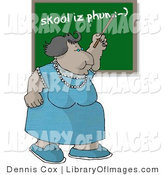 Clip Art of a Female English Teacher Teaching a Spelling Lesson on a Classroom Chalkboard by Djart