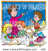 Clip Art of a Female Math Teacher Teaching School Students Geometry and Algebra on a Blue Chalkboard by Alex Bannykh