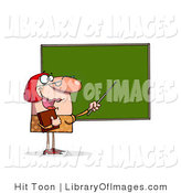 Clip Art of a Female Teacher and Chalkboard by Hit Toon