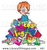 Clip Art of a Female Teacher Buried in Colorful Letters and Books by Alex Bannykh