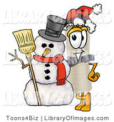 Clip Art of a Festive and Proud Diploma Mascot Cartoon Character with a Snowman on Christmas by Toons4Biz