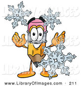 Clip Art of a Festive Pencil Mascot Cartoon Character with Three Snowflakes in Winter by Toons4Biz