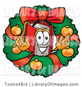 Clip Art of a Festive Red Book Mascot Cartoon Character in the Center of a Christmas Wreath by Toons4Biz