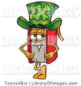 Clip Art of a Festive Red Book Mascot Cartoon Character Wearing a Saint Patricks Day Hat with a Clover on It by Toons4Biz