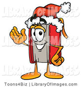 Clip Art of a Festive Red Book Mascot Cartoon Character Wearing a Santa Hat and Waving by Toons4Biz