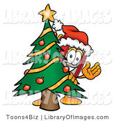 Clip Art of a Festive Winter Red Book Mascot Cartoon Character Waving and Standing by a Decorated Christmas Tree by Toons4Biz