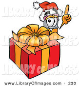 Clip Art of a Festive Yellow Pencil Mascot Cartoon Character Standing by a Christmas Present by Toons4Biz