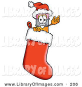 Clip Art of a Festive Yellow Pencil Mascot Cartoon Character Wearing a Santa Hat Inside a Red Christmas Stocking by Toons4Biz