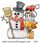 Clip Art of a Festive Yellow Pencil Mascot Cartoon Character with a Snowman on Christmas by Toons4Biz