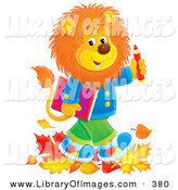Clip Art of a Fluffy Young Male Lion Wearing Clothes and Walking Through Leaves on His Way to School by Alex Bannykh