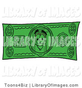 Clip Art of a Friendly Book Mascot Cartoon Character on a Dollar Bill by Toons4Biz