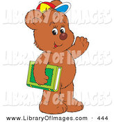 Clip Art of a Friendly Brown Bear Cub Student Wearing a Colorful Hat, Waving and Carrying a Green Library or School Book by Alex Bannykh