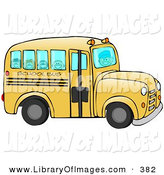 February 14th, 2013: Clip Art of a Friendly Bus Driver Driving Happy School Children to School on a Yellow School Bus on a School Day by Djart