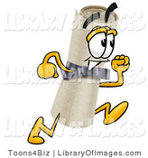 Clip Art of a Friendly Diploma Mascot Cartoon Character Running by Toons4Biz