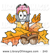 Clip Art of a Friendly Pencil Mascot Cartoon Character with Autumn Leaves and Acorns in the Fall by Toons4Biz