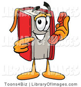 Clip Art of a Friendly Red Book Mascot Cartoon Character Holding a Telephone by Toons4Biz
