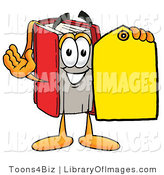 Clip Art of a Friendly Red Book Mascot Cartoon Character Holding a Yellow Sales Price Tag by Toons4Biz