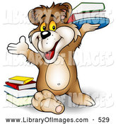 Clip Art of a Friendly Smart Brown Bear Smiling and Holding up a Stack of Library or School Books by Dero