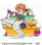 Clip Art of a Friendly Smart School Boy Writing a Long Story at a Desk by Alex Bannykh