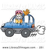 Clip Art of a Friendly Yellow Pencil Mascot Cartoon Character Driving a Blue Car and WavingFriendly Yellow Pencil Mascot Cartoon Character Driving a Blue Car and Waving by Toons4Biz