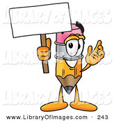 Clip Art of a Friendly Yellow Pencil Mascot Cartoon Character Holding a Blank Sign by Toons4Biz