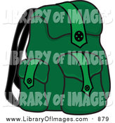 Clip Art of a Full Green Backpack for School by Pams Clipart