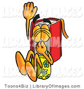 Clip Art of a Fun-Loving Red Book Mascot Cartoon Character Plugging His Nose While Jumping into Water by Toons4Biz