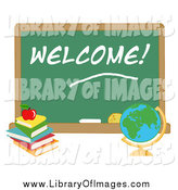 Clip Art of a Globe by a Welcome School Chalk Board by Hit Toon