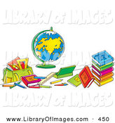 Clip Art of a Globe Surrounded by Colorful School Books and Supplies by Alex Bannykh