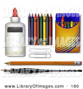 Clip Art of a Glue, Crayons, Paper Clipars, Pencil and Calligraphy Pen - School Supplies by Leo Blanchette