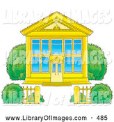 Clip Art of a Golden School Building with Blue Windows and a Gate on White by Alex Bannykh