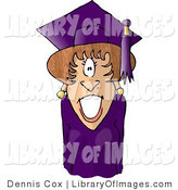 Clip Art of a Graduated Woman Wearing Cap and Gown by Djart