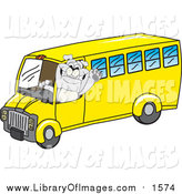 September 27th, 2015: Clip Art of a Gray Bulldog Mascot Waving and Driving a Yellow School Bus by Toons4Biz