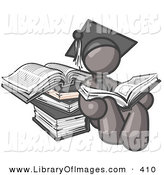 Clip Art of a Gray Male Student in a Graduation Cap, Sitting and Reading a Book and Leaning Against a Stack of Books by Leo Blanchette